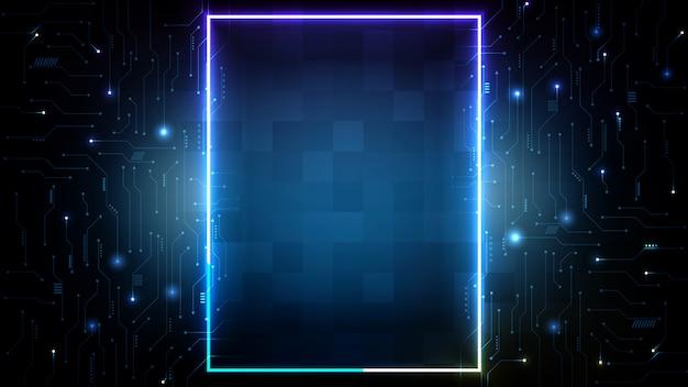 Fondo futurista abstracto de placa de circuito impreso azul y marco cuadrado de neón