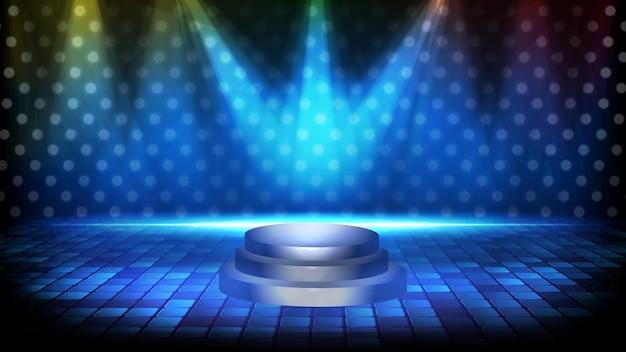 Fondo futurista abstracto del podio del escenario vacío y fondo de escenario spotlgiht de iluminación