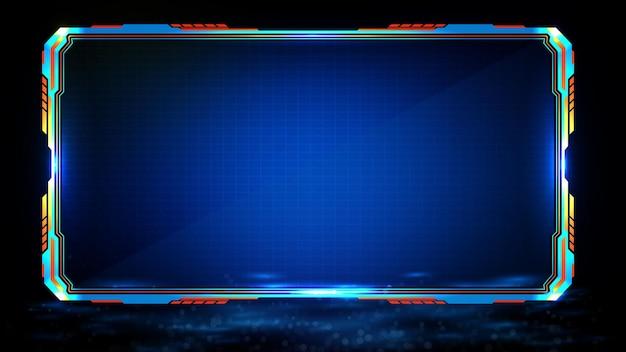 Fondo futurista abstracto de tecnología azul brillante marco de ciencia ficción hud ui