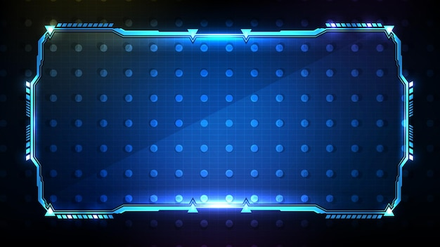 Fondo futurista abstracto. tecnología azul brillante marco de ciencia ficción hud ui