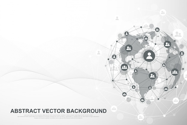 Fondo futurista abstracto tecnología blockchain. conexión a la red global de internet. concepto de negocio de red.