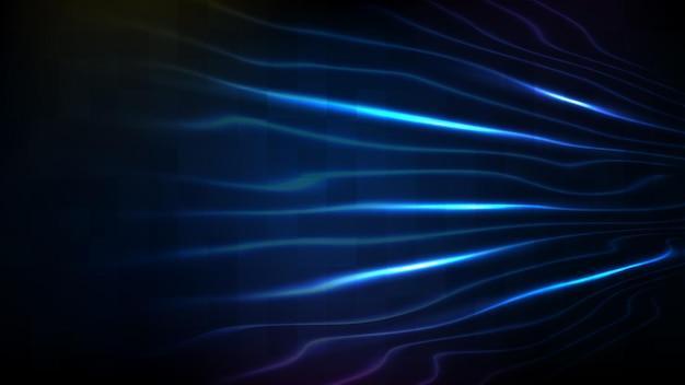 Fondo futurista abstracto de tecnología de ciencia ficción línea de neón de movimiento rápido