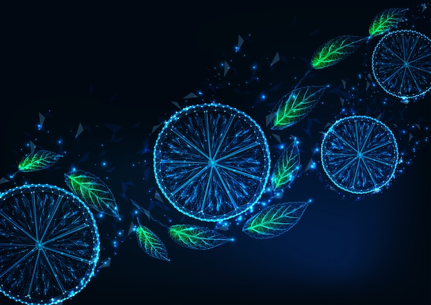Fondo futurista con brillantes rodajas de limón polivinílico, hojas de menta verde, en azul oscuro