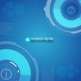 Fondo futurista con círculos abstractos y hexágonos