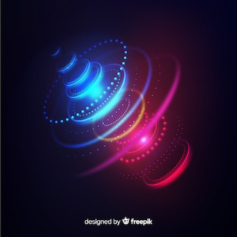 Fondo futurista de holograma con luces de neón
