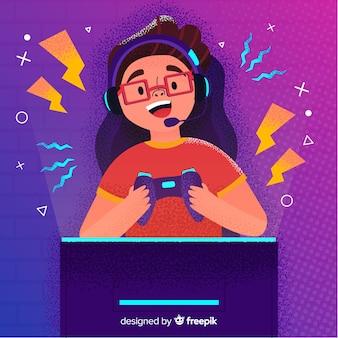 Fondo futurista de un jugador de computadora
