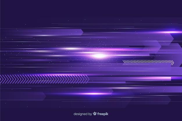 Fondo futurista luz brillante en movimiento