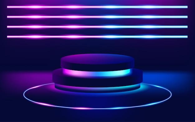 Fondo futurista del piso de la etapa de las luces de neón. ilustración