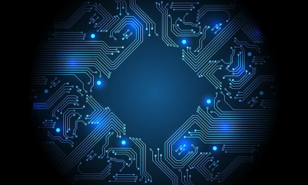 Fondo futurista de tecnología azul circuito placa base computadora.