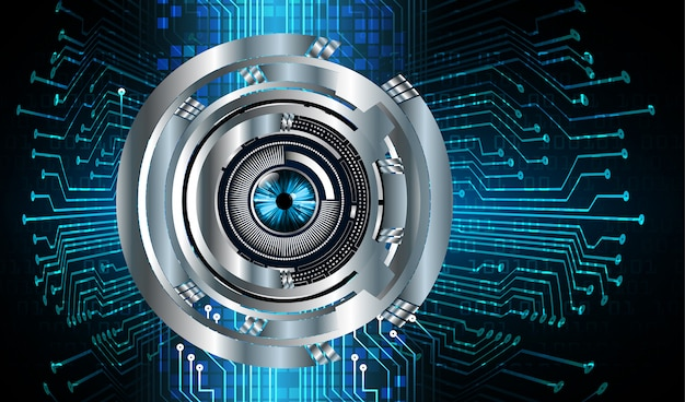 Fondo futuro del concepto de la tecnología del circuito cibernético del ojo azul