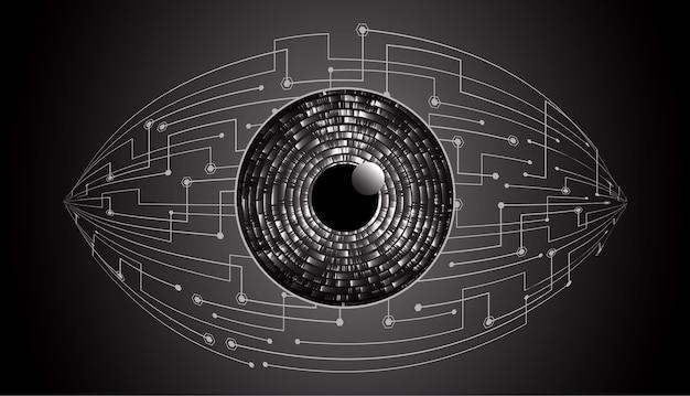 Fondo futuro del concepto de la tecnología del circuito cibernético del ojo negro