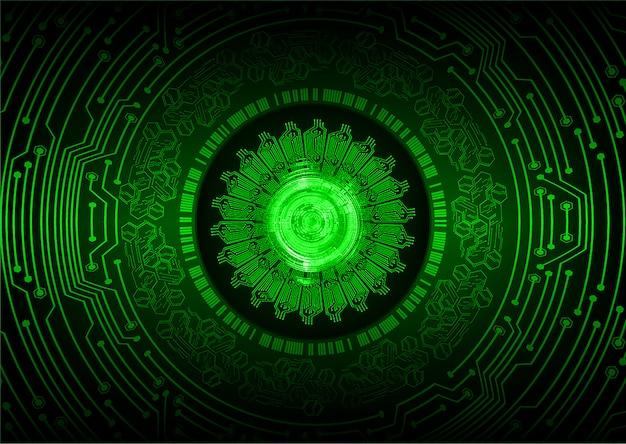 Fondo futuro del concepto de la tecnología del circuito cibernético del ojo verde
