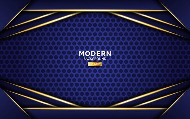 Fondo futuro moderno de forma azul con líneas de luz doradas en círculo.