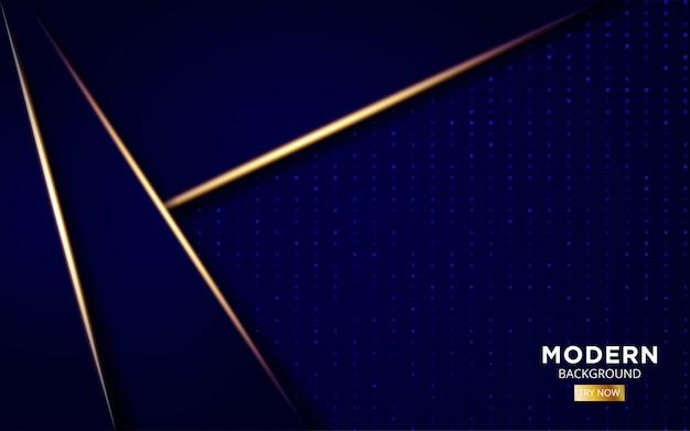 Fondo futuro moderno de forma azul con líneas de luz doradas en puntos.