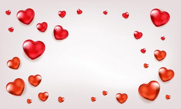 Fondo de gala con globos de corazón rojo