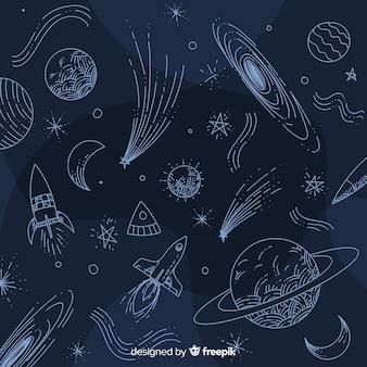 Fondo de galaxia adorable dibujado a mano