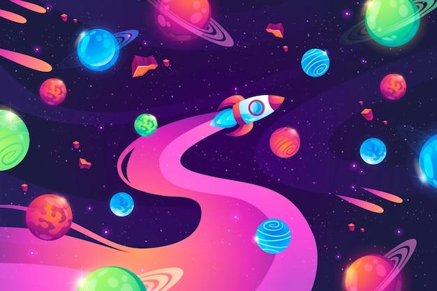 Fondo de galaxia colorida de dibujos animados
