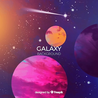 Fondo de galaxia colorido en acuarela
