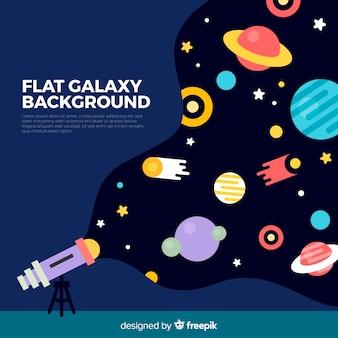 Fondo de galaxia colorido con diseño plano