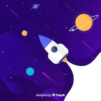 Fondo galaxia degradada con un cohete