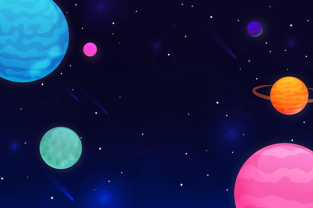 Fondo de galaxia degradado con planetas de colores