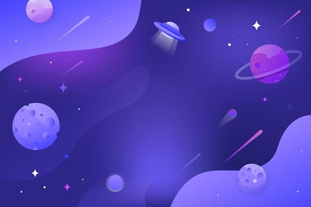 Fondo de galaxia de dibujos animados con planetas