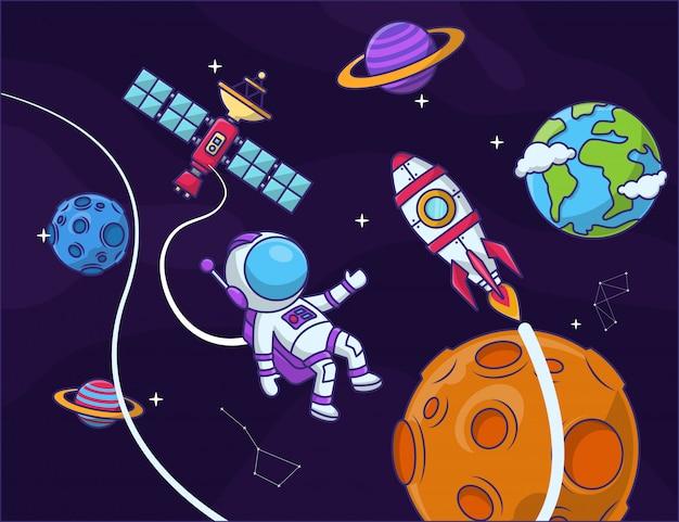 Fondo de galaxia con elementos espaciales