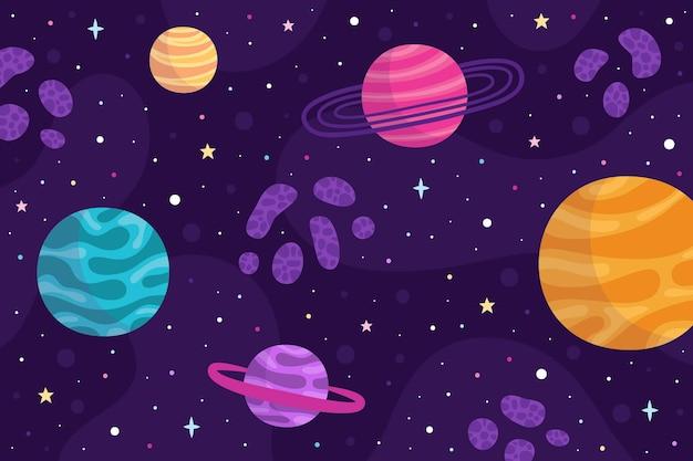 Fondo de galaxia de estilo de dibujos animados