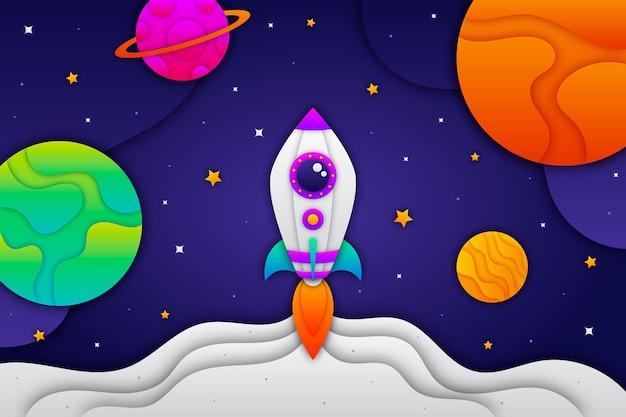 Fondo de galaxia estilo papel con cohete
