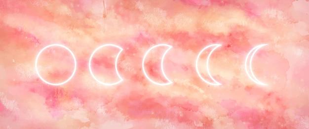 Fondo de galaxia con fases lunares