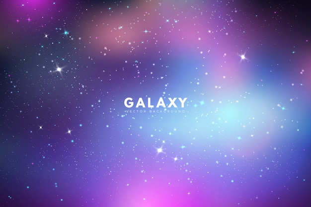 Fondo de galaxia iridiscente con estrellas