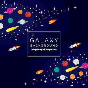 Fondo de galaxia con meteoritos y cohetes