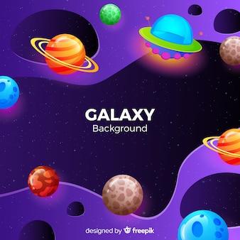 Fondo galaxia planetas coloridos