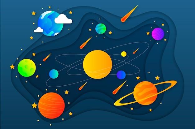 Fondo de galaxia de planetas de estilo de papel