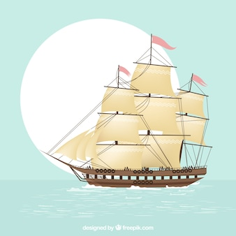 Fondo de galeón navegando