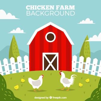 Fondo de gallinero rojo y gallinas