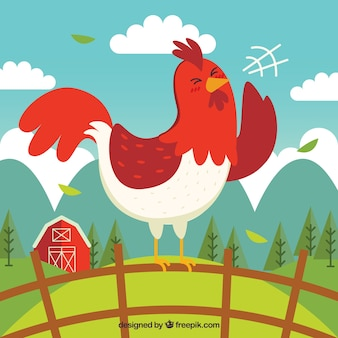 Fondo de gallo cantando