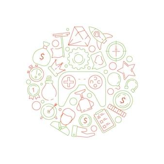 Fondo de gamificación. reglas de logro del concepto de negocio de gamificación para el trabajo símbolos de vector de desafío competitivo en forma de círculo