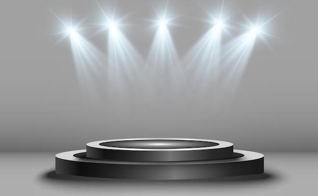 Fondo de ganador con signos de primer segundo y tercer lugar en un pedestal redondo pod ganador de vector