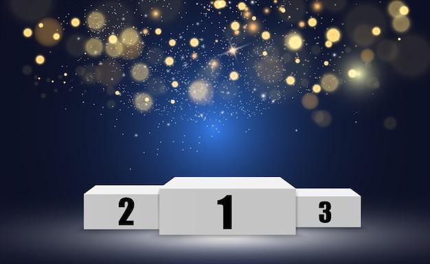 Fondo de ganador con signos de primer, segundo y tercer lugar en un pedestal redondo.