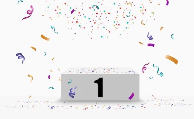 Fondo de ganador con signos de primer, segundo y tercer lugar en un pedestal.