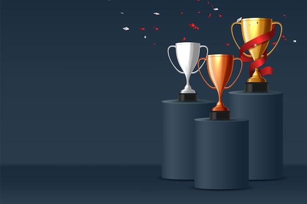 Fondo ganador. trofeo de la copa de oro, plata y bronce en el podio de premios