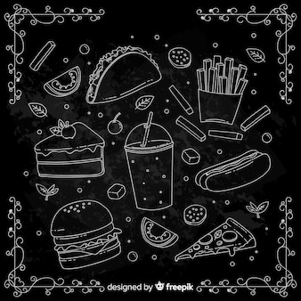 Fondo garabatos comida dibujada a mano