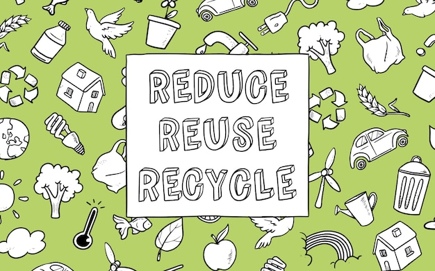 Fondo de garabatos ecológicos con mensaje