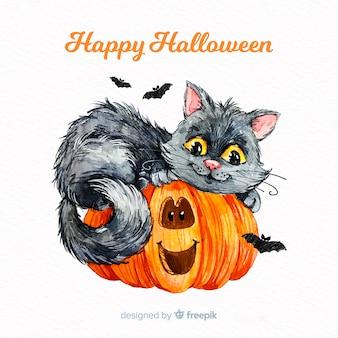 Fondo de gato adorable de halloween en acuarela