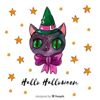 Fondo de gato de halloween en acuarela