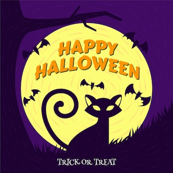 Fondo de gato y murciélago de halloween de dibujos animados planos dibujados a mano