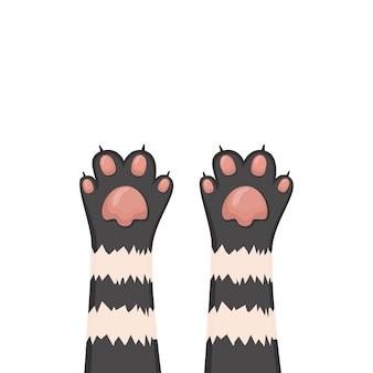 Fondo de gatos, conjunto de patas de dibujos animados de gatito, ilustración vectorial