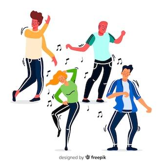 Fondo gente bailando dibujada a mano