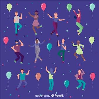 Fondo gente bailando dibujado a mano